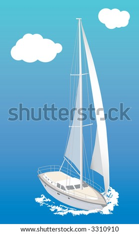 Raster version of vector image of sailboat