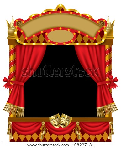 Raster version of vector image of the illuminated puppet show booth with theater masks, red curtain and signboards - stock photo