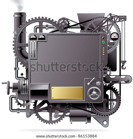 Raster version of vector isolated image of the complex fantastic machine with gears, levers, pipes, meters, production line, flue and lifting crane - stock photo