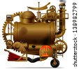 Raster version of vector isolated image of the complex fantastic machine with steam boiler, gears, levers, pipes, meters, furnace and flue - stock vector