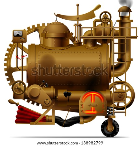 Raster version of vector isolated image of the complex fantastic machine with steam boiler, gears, levers, pipes, meters, furnace and flue - stock photo