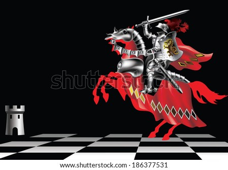Raster version of vector/ Knight with a sword in red on a chessboard on a black background - stock photo