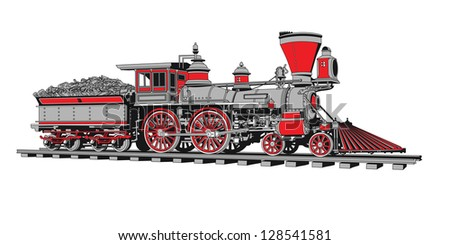 Raster version of vector/ Old steam locomotive in four colors