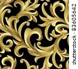 Raster version of vector seamless from abstract gold plant. (can be repeated and scaled in any size) - stock photo