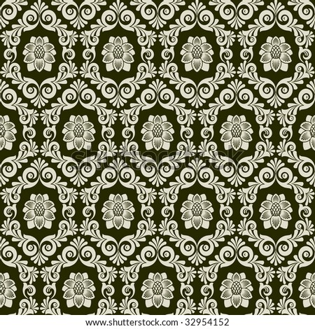 Raster version of vector seamless from leaves and flowers on black  background (can be repeated and scaled in any size)