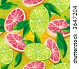 Raster version of vector seamless pattern with citrus - stock photo
