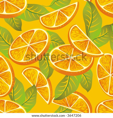 Raster version of vector seamless pattern with orange - stock photo