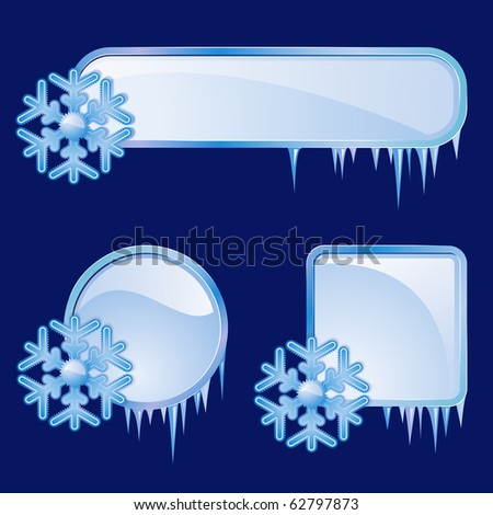 Raster version of vector set from  frames with blue snowflakes - stock photo