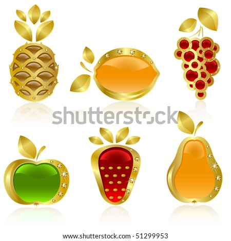 Raster version of vector set from  gold fruit on the white background