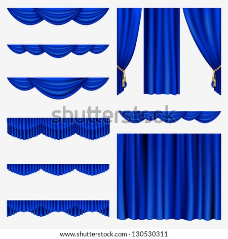 Raster version of vector set of blue curtains to theater stage. - stock photo