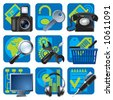 Raster version of vector set of blue website and internet icons 1 - stock photo