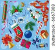 Raster version of vector set of Christmas and New-Year's decorations (objects, background and border elements) Contain the Clipping Path of all objects - stock photo