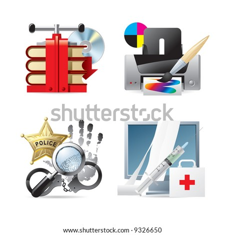 Raster version of vector set of computer & web icons V - stock photo