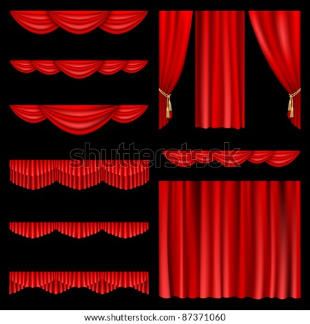 Raster version of vector set of red curtains to theater stage. - stock photo