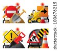 Raster version of vector set of roadwork icons with signboards and tools - stock photo