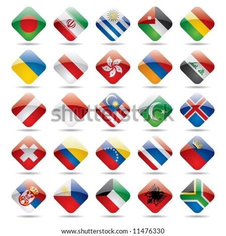 Raster version of vector set world flag icons 3 - stock photo