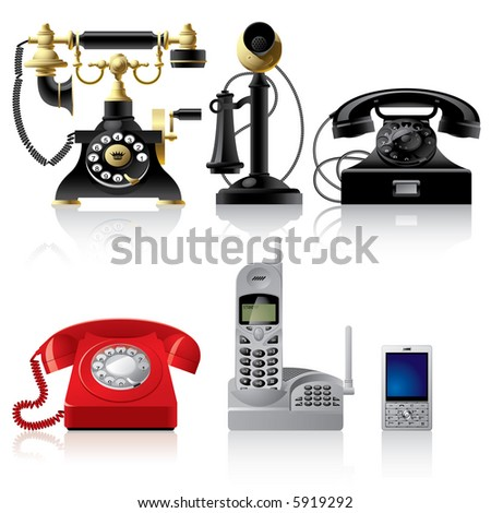 Raster version of vector telephone sets of different epoch