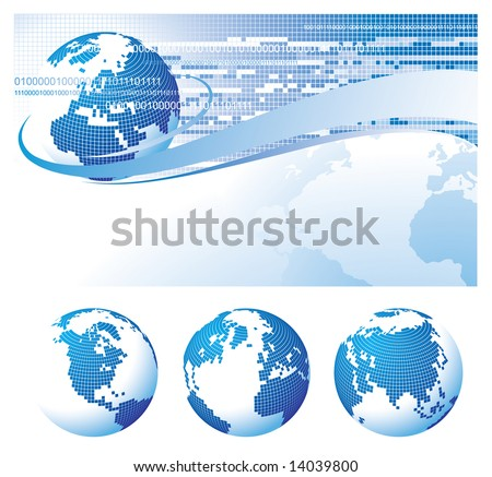 Raster version of vector template background with a globe - stock photo