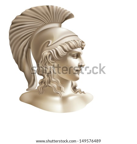 Raster version of vector/The man's head in a helmet in a classical style on a white background - stock photo
