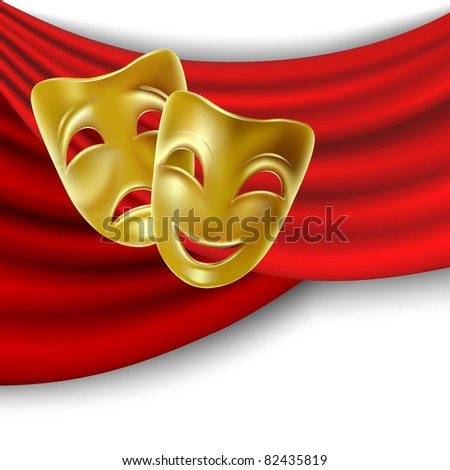 Raster version of vector theatrical mask with a red ribbon. - stock photo