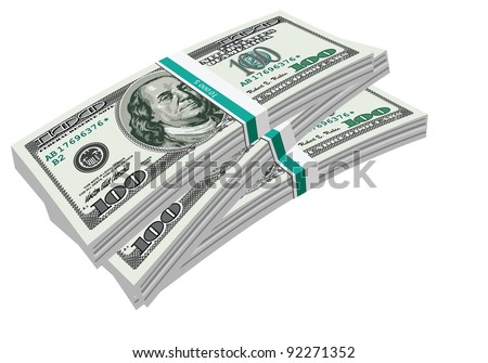 Raster version of vector/ Three hundred-dollar bank bundles of U.S. banknotes