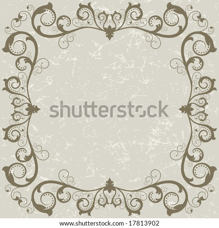 Raster version of vector vintage grunge frame with swirl  on a grey background