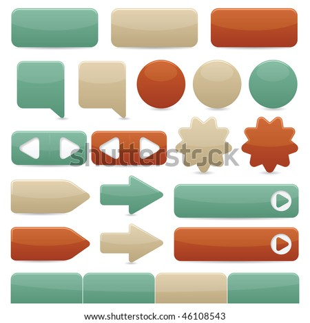 Raster version of web navigation buttons in copper, tan & turquoise colors - stock photo