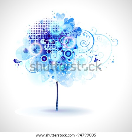 raster version of winter composition with blue snow tree - stock photo