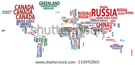 Raster version of worldmap nations in colour - stock photo