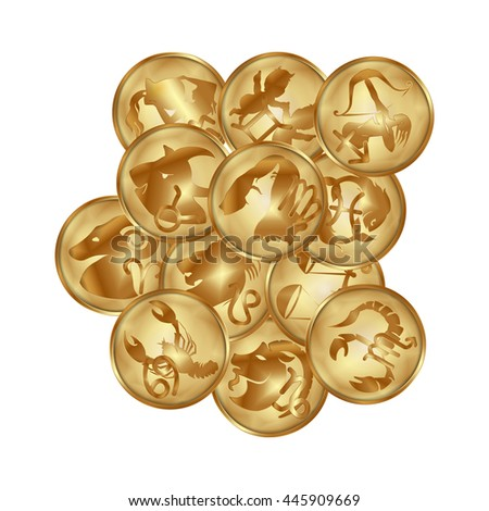 raster version of zodiac signs on a gold disk in the form of a medallion. All objects isolated can be used with any image or text.