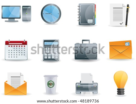 Raster version Office & Business icons - stock photo