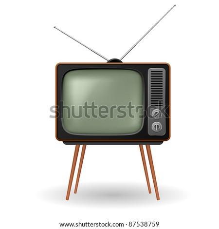 Raster version. Old-fashioned retro TV. Illustration on white background - stock photo