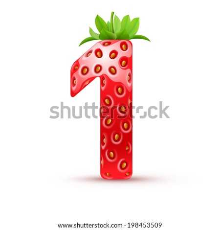 Raster version. One number in strawberry style with green leaves - stock photo