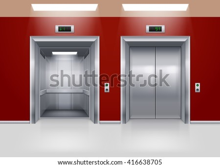 Raster version. Open and Closed Modern Metal Elevator Doors. Hall Interior in Red Colors