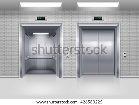 Raster version. Open and Closed Modern Metal Elevator Doors in a Brick Wall