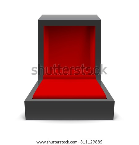 Raster version. Open black box for jewelry on a white background