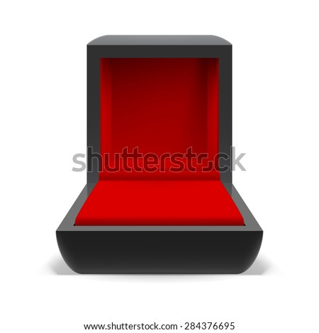 Raster version. Open box for jewelry with a red interior on a white background