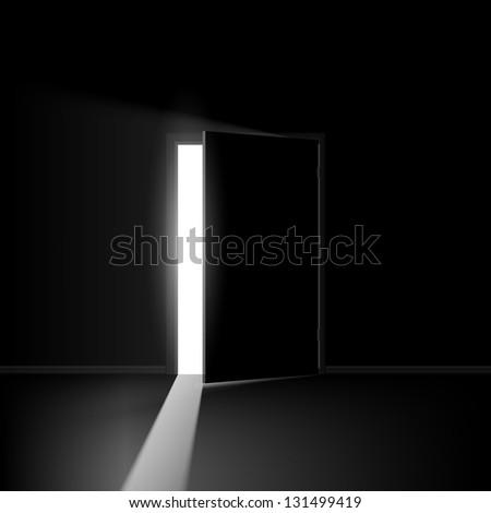 Raster version. Open door. Illustration on black background for creative design - stock photo
