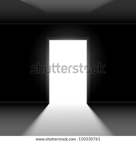 Raster version. Open door with light. Illustration on dark empty background - stock photo