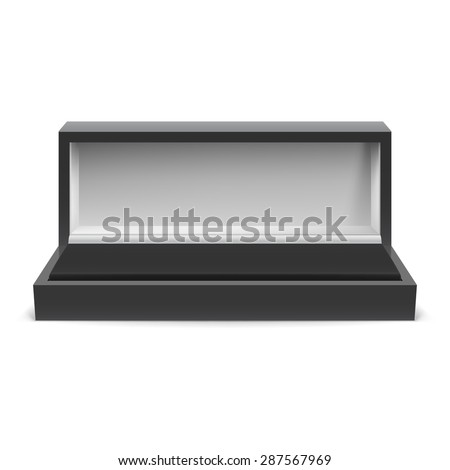 Raster version. Open rectangular box for jewelry on a white background  - stock photo