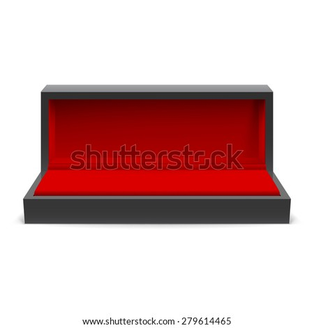Raster version. Open rectangular box for jewelry with a red interior on a white background