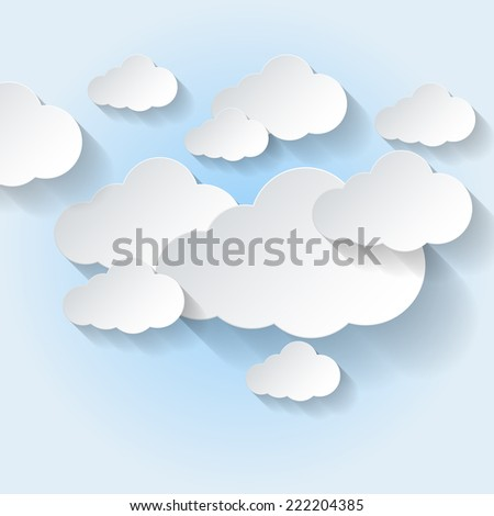 Raster version. Paper clouds on light blue sky background. Cloud computing  - stock photo
