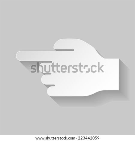 Raster version. Paper hand pointing to the left on grey background  - stock photo