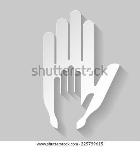 Raster version. Paper stylized helping hand illustration. Concept of help, assistance and cooperation  - stock photo