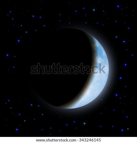 Raster version. Partial eclipse of the moon in the shadow space - stock photo