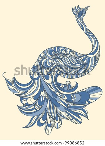 raster version, peacock with detailed tail - stock photo