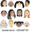 Raster version People Faces 3. Illustration set of 12 different faces of all sexes, races and ages. Also available in other sets. - stock vector