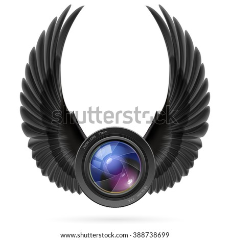 Raster version. Photo camera lens with raised up black wings - stock photo