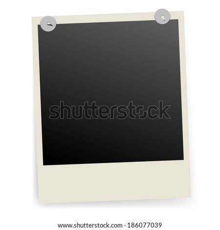 Raster version. Photo frame fixed with metal pins. Illustration on white. - stock photo
