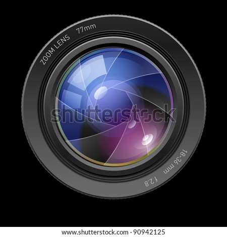 Raster version. Photo lens. Illustration on black background for design - stock photo